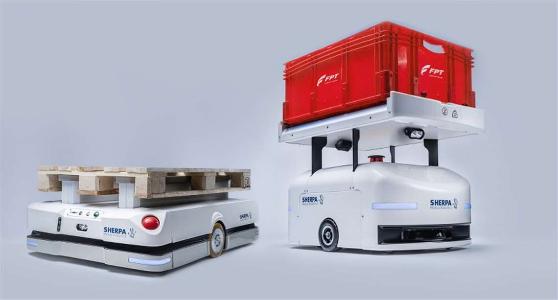 Sherpa mobile robots used in FPT Industrial's production
